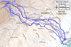 The route of the 31st Illinois' march to Atlanta.  http://upload.wikimedia.org/wikipedia/commons/6/6b/Savannah_Campaign.png