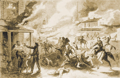 Bushwhackers raiding a town. From Civil War.org. http://www.civilwar.org/hallowed-ground-magazine/summer-2011/images/bushwhacker-attack.jpg